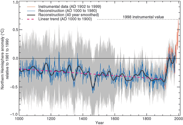 "The ""hockey stick"" graph as published in IPCC TAR (Figure 2-20, 2001)"